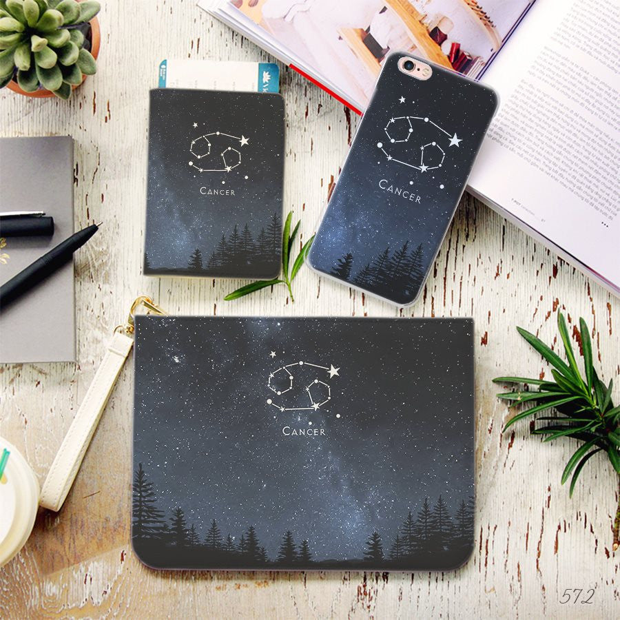 Cancer Zodiac Combo Passport Holder, Clutch and Phone case