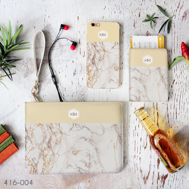Yellow & Golden Marble Combo Passport Holder, Clutch and Phone case