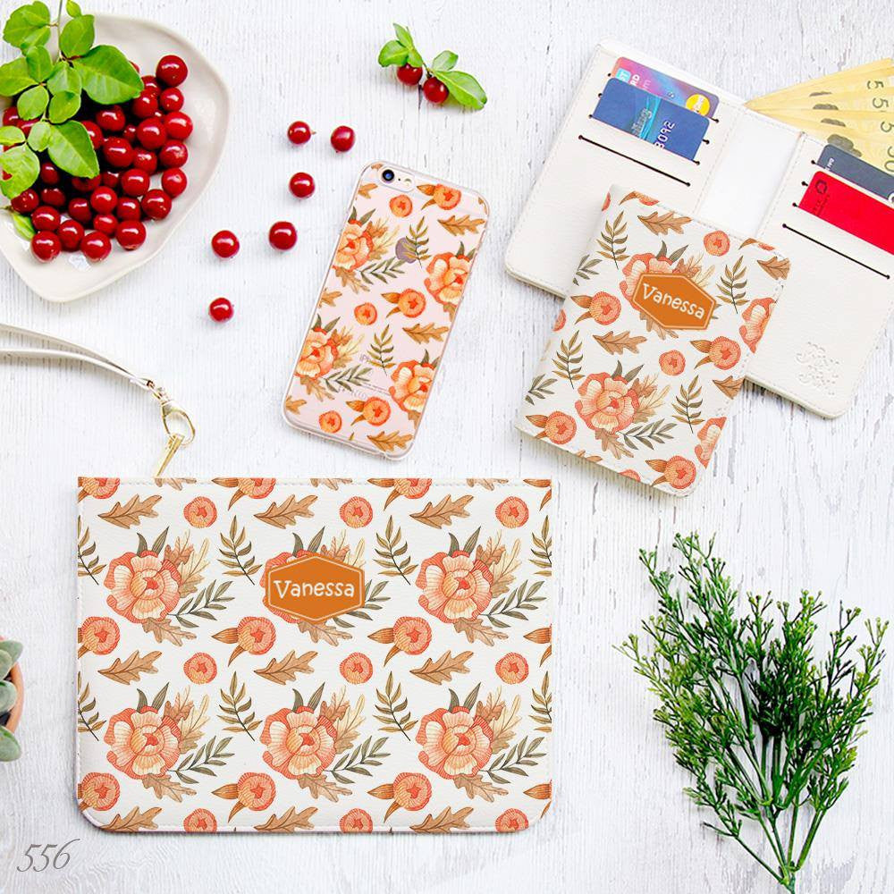 Vintage Orange Flowers Combo Wallet , Clutch and Phone case