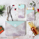 Mint & Grey Marble Combo Passport Holder, Clutch and Phone case