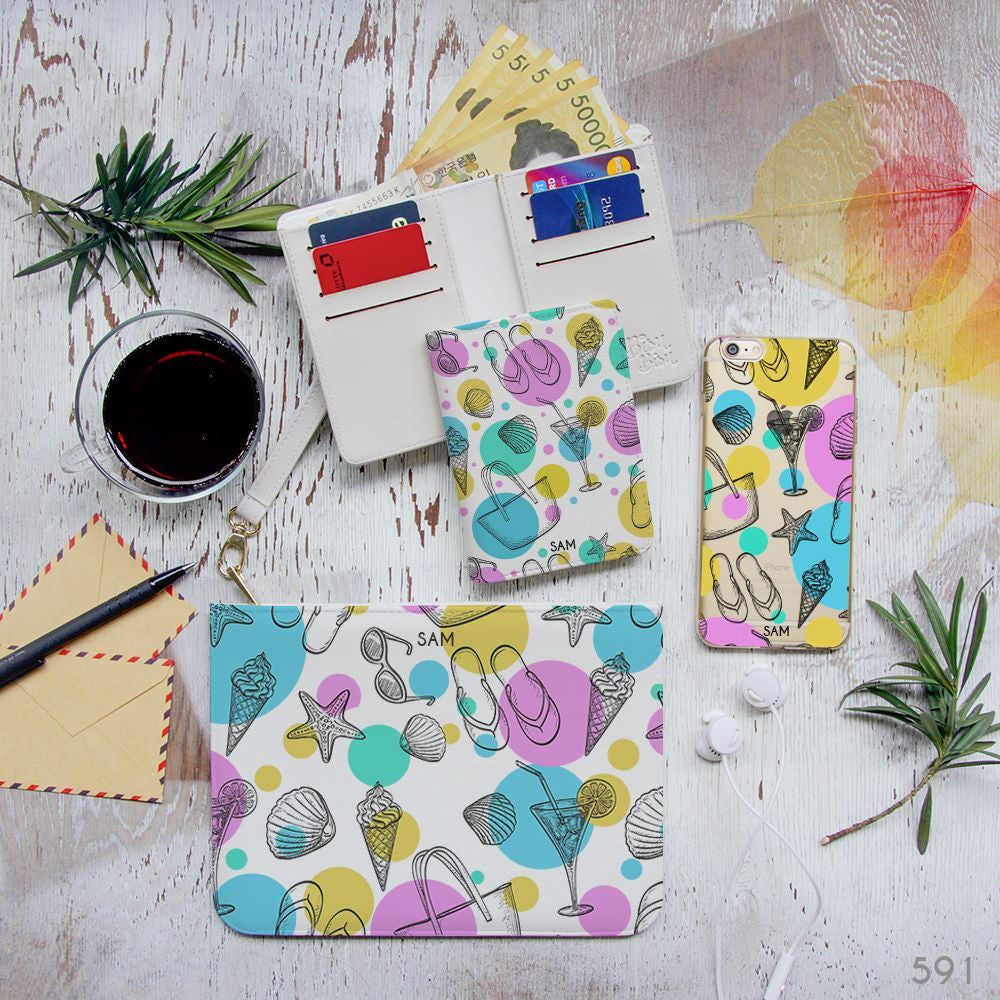 Summer Items Pattern Combo Wallet , Clutch and Phone case