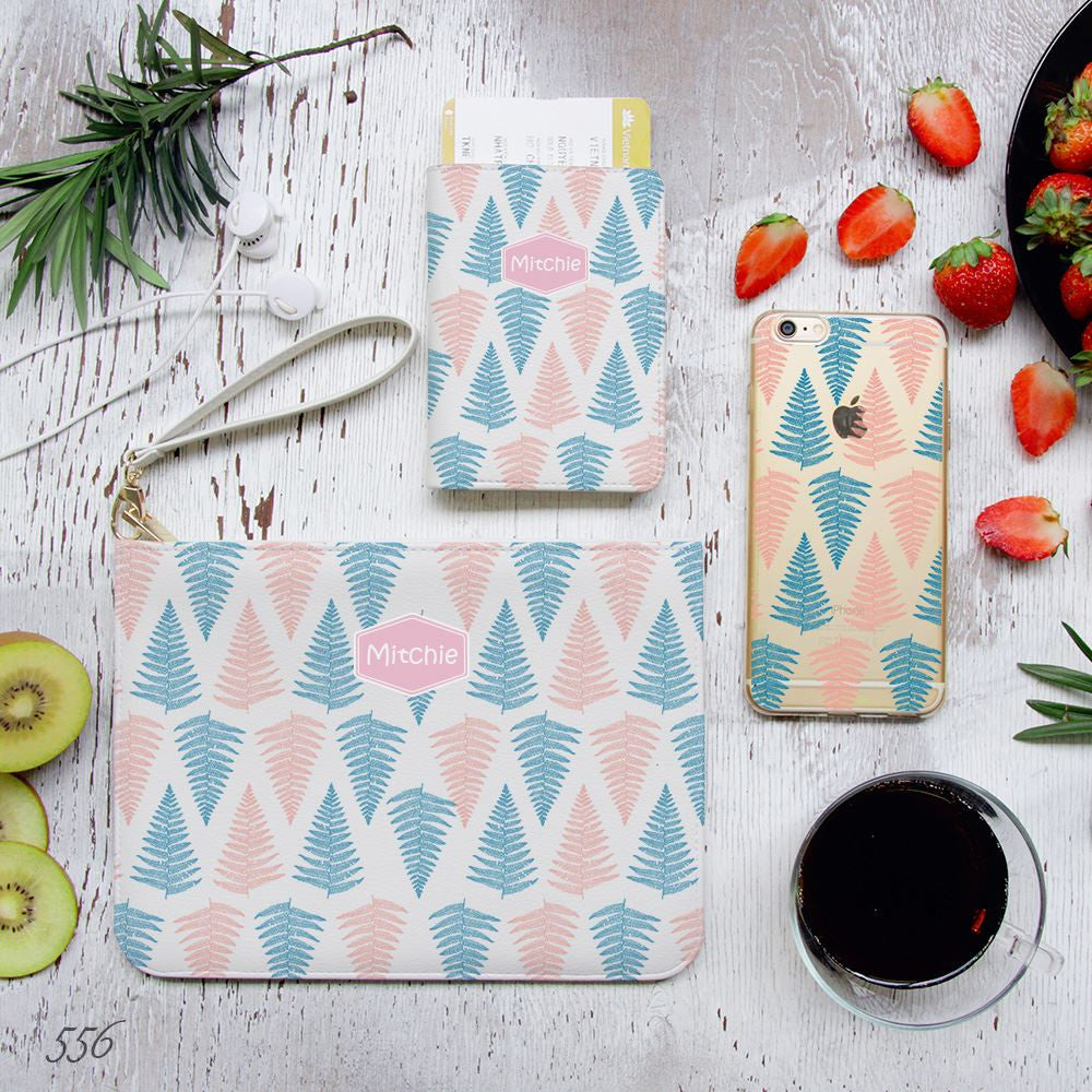 Blue and Pink Fern Leaves Combo Passport Holder, Clutch and Phone case