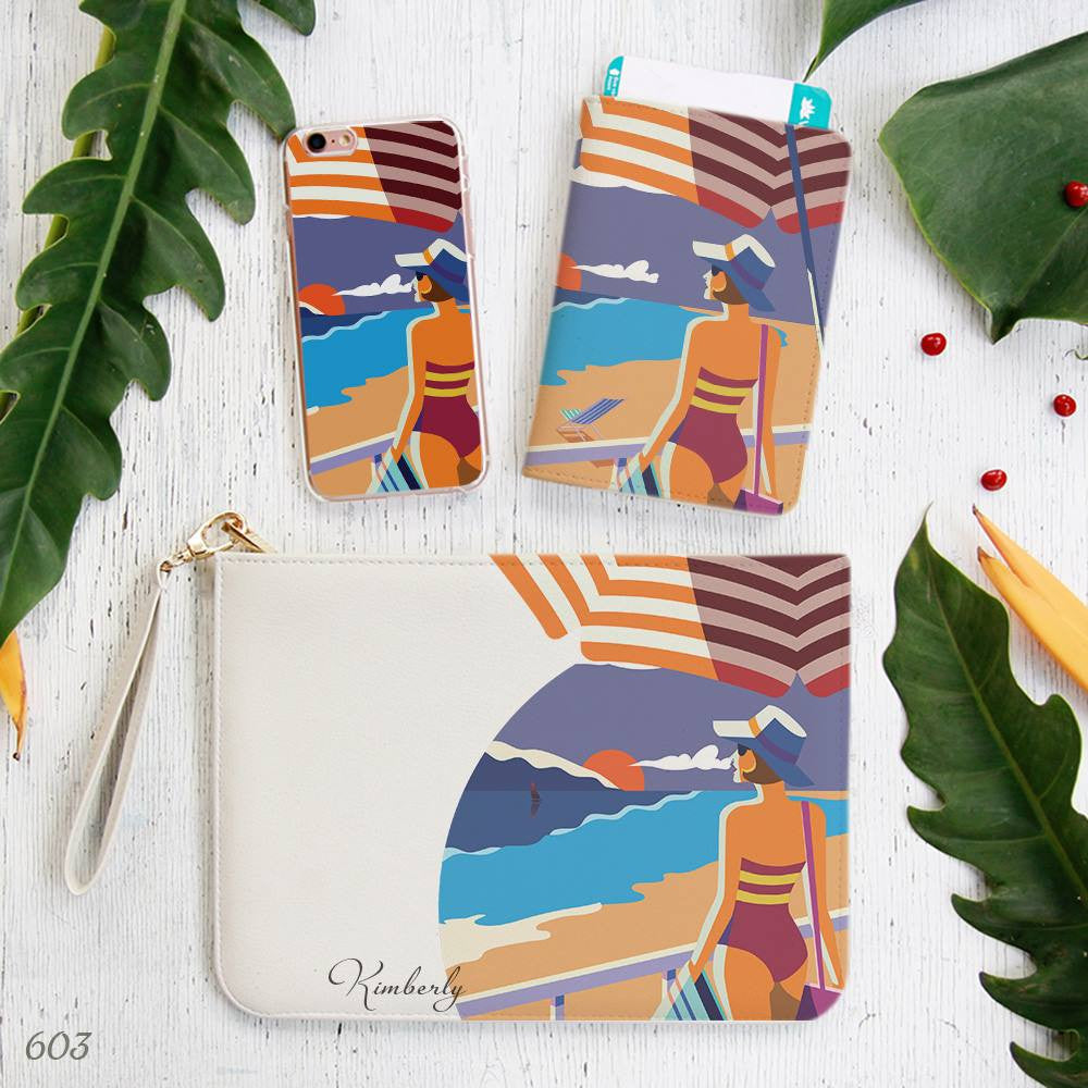 Short Hair Girl Beach Scape PopArt Style Combo Passport Holder, Clutch and Phone case