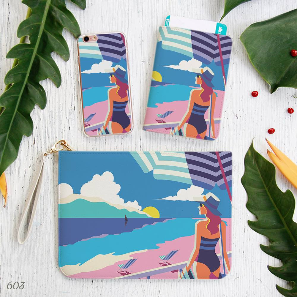 Girl Beach Scape PopArt Style Combo Personalizable Passport Holder, Clutch and Phone case