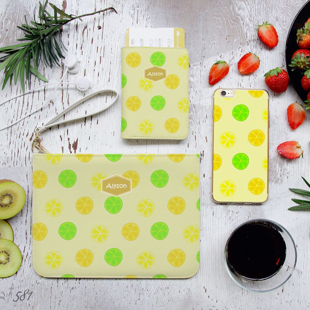 Colorful Lemon Slice Combo Passport Holder, Clutch and Phone case