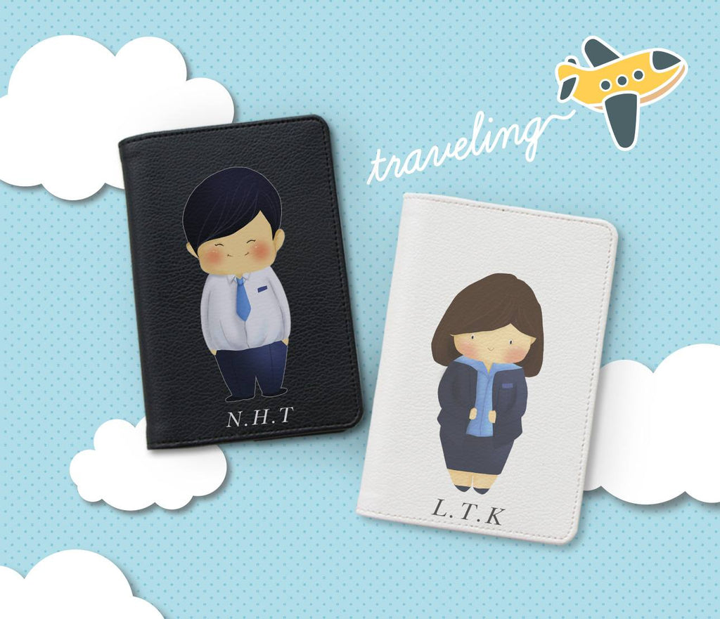 Office Staffs Chibi Couple Personalizable Passport Holders