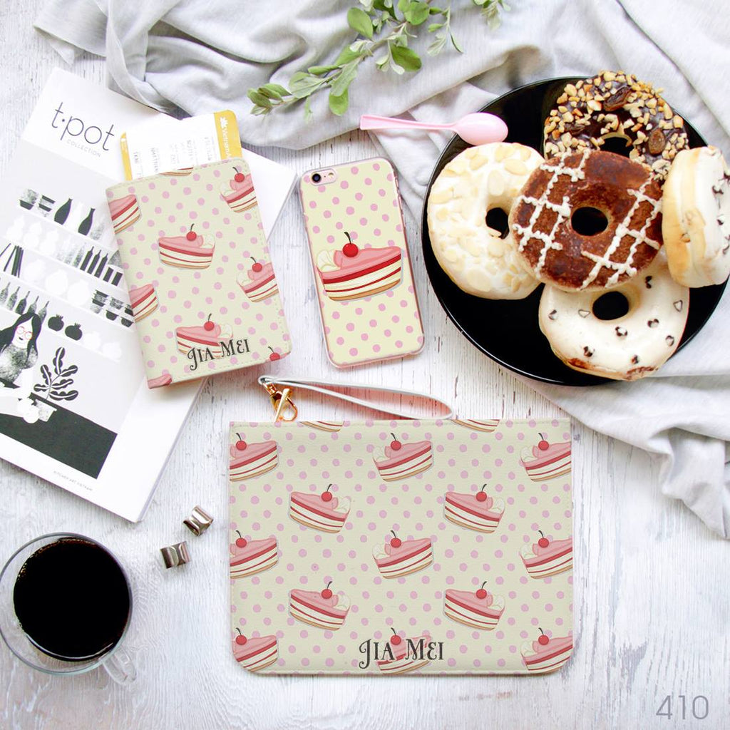 Cream Cake with Cherry Combo Passport Holder, Clutch and Phone case