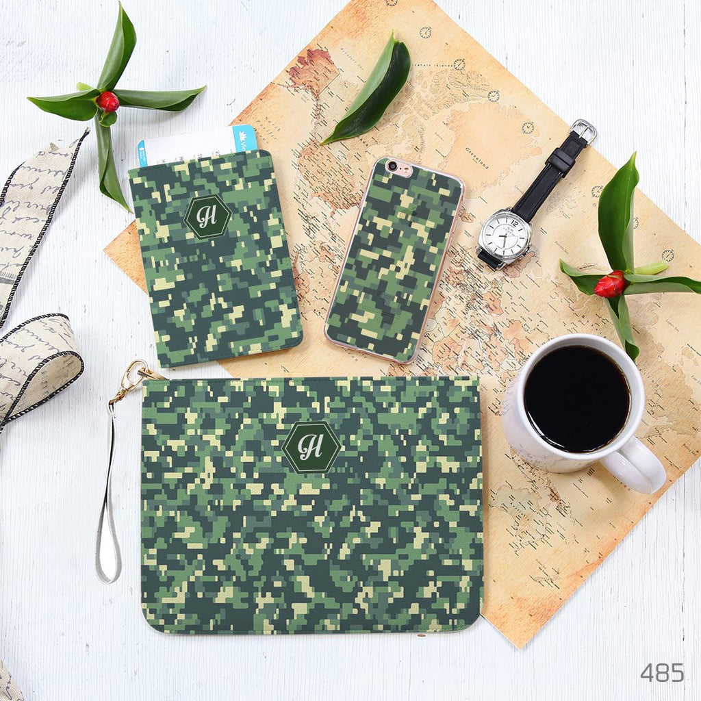 Dark Green Camouflage Pattern Combo Personalizable Passport Holder, Clutch and Phone case