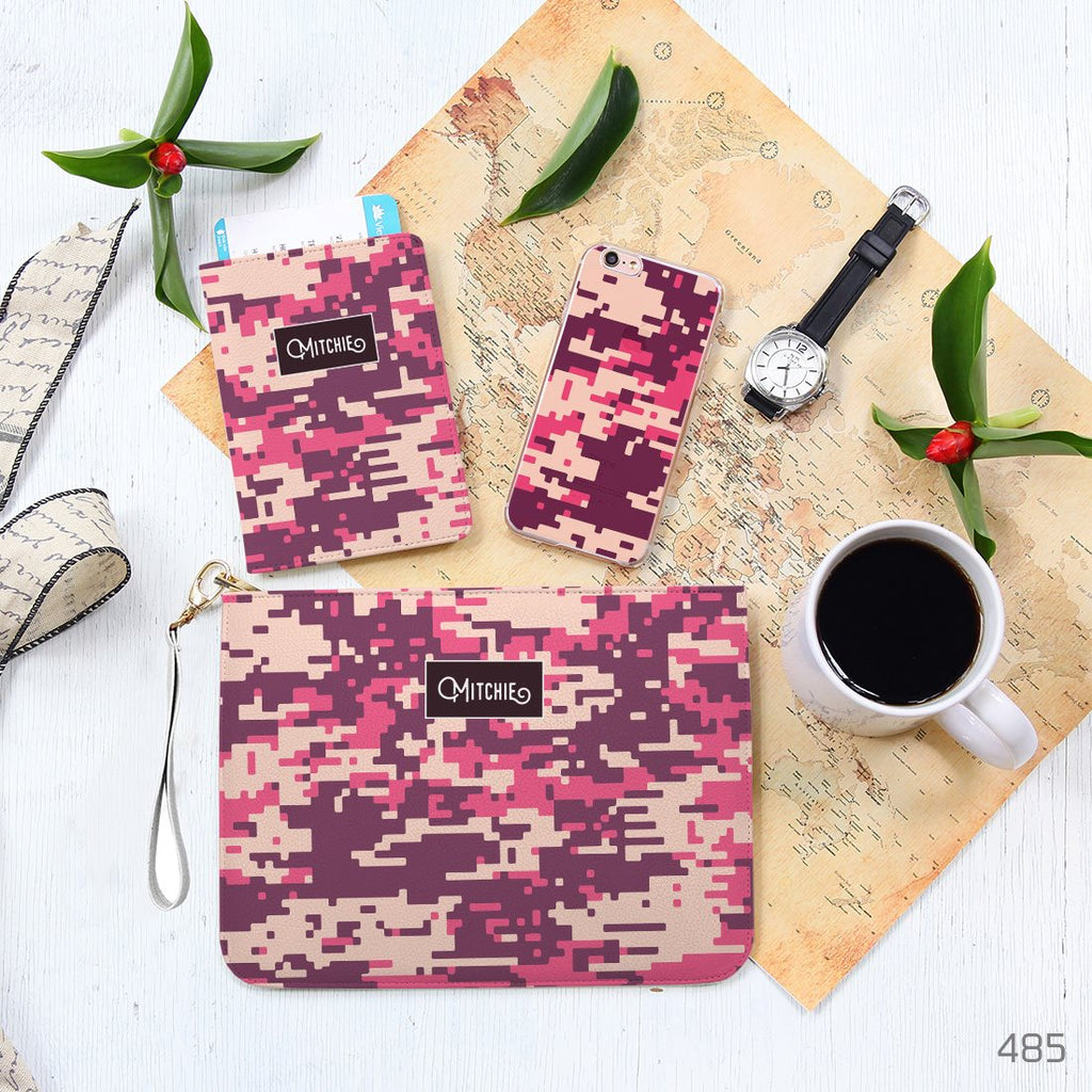 Violet and Pink Camouflage Pattern Combo Personalizable Passport Holder, Clutch and Phone case