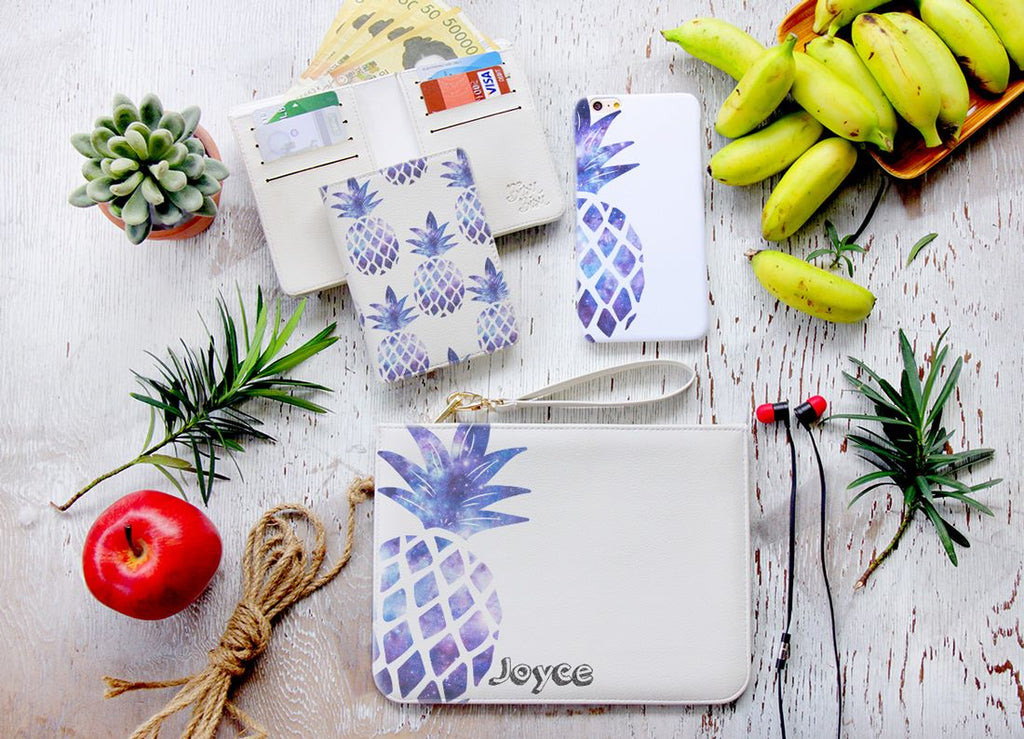Purple Pineapple Combo Wallet , Clutch and Phone case