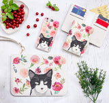 Floral Cat Combo Wallet , Clutch and Phone case