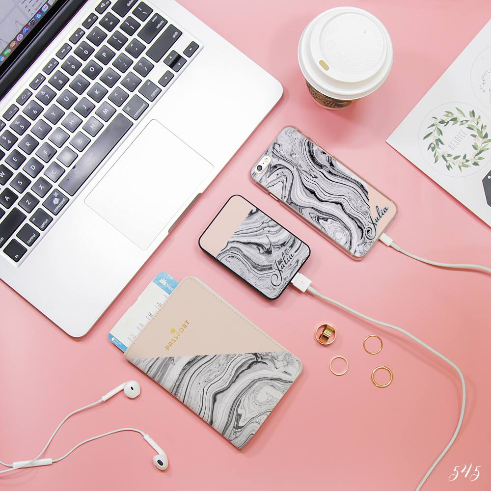 Black Marble & Nude Combo Passport Holder, Power Bank and Phone case