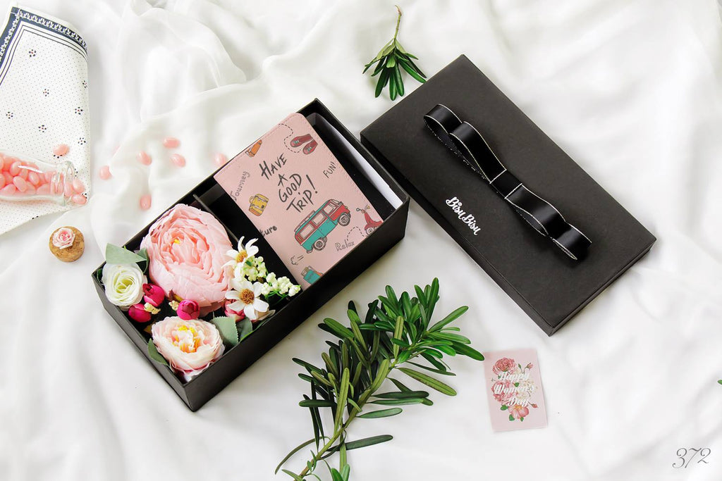 Flower Gift Box with Have A Good Trip Personalizable Passport Holder