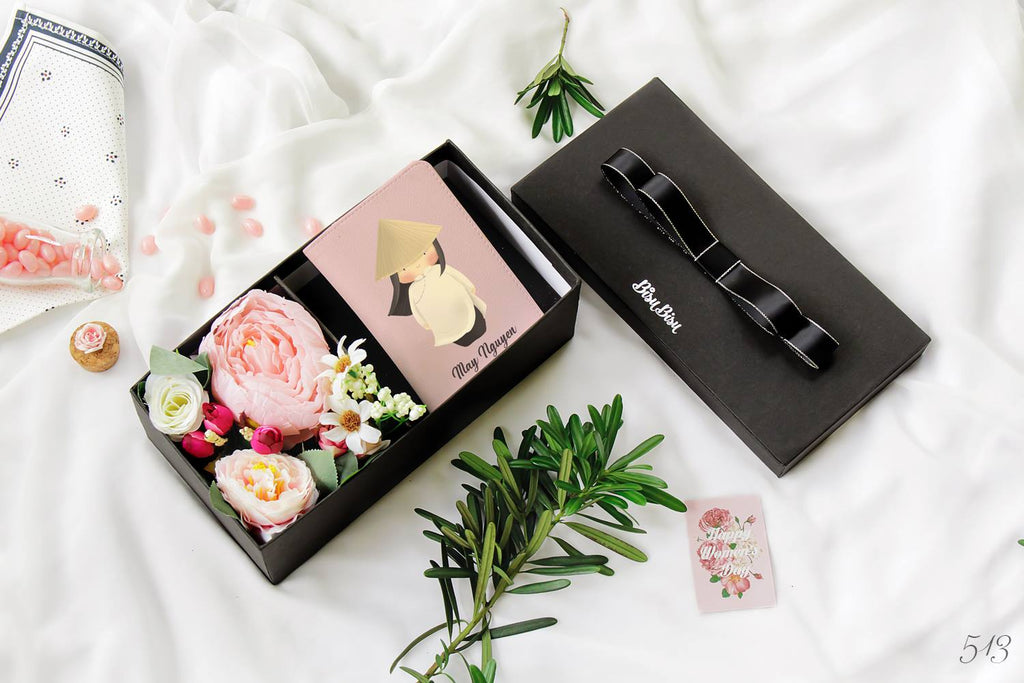 Flower Gift Box with Ao dai - Traditional clothing of Vietnam Chibi Passport Holder