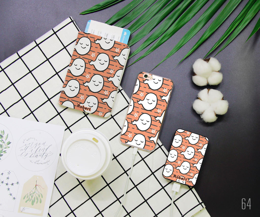 Cute Ghost Combo Passport Holder, Power Bank and Phone case