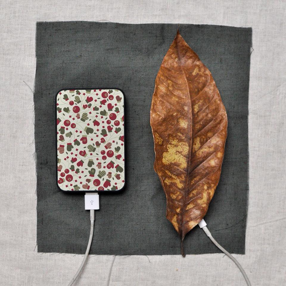 Beige Background Xmas Pattern Power Bank