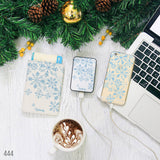 Blue Sketch Snowflake Combo Passport Holder, Power Bank and Phone case