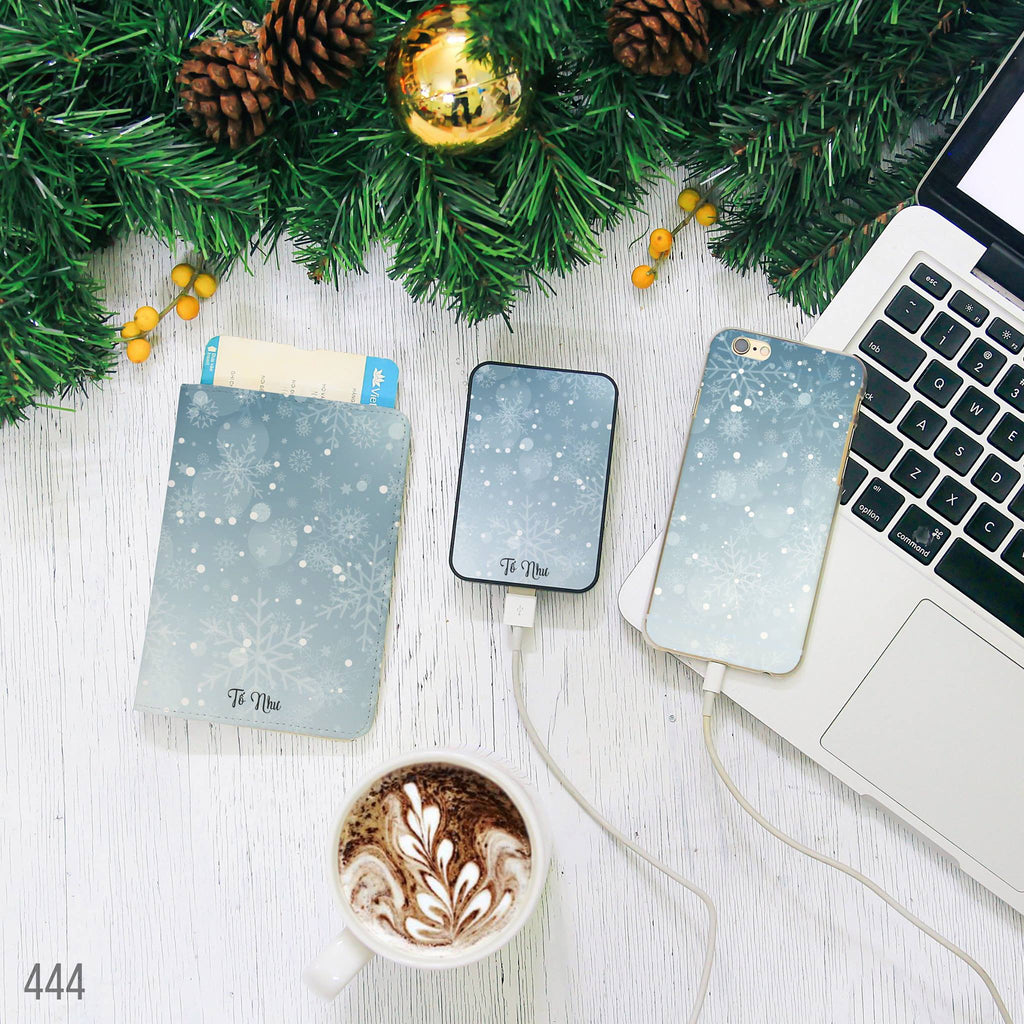 Blue Snowflakes Combo Passport Holder, Power Bank and Phone case