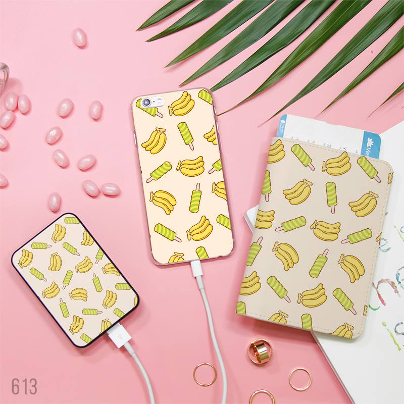 Banana and Candy Combo Passport Holder, Power Bank and Phone case