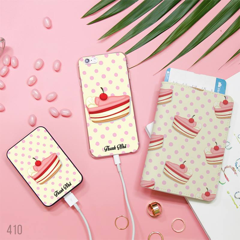 Cream Cake with Cherry Combo Passport Holder, Power Bank and Phone case