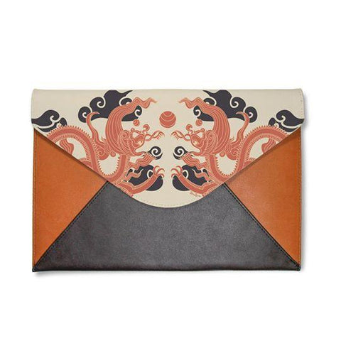 Vintage Orange Flowers Envelope Clutch