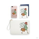 Time To Travel Girl Combo Personalizable Passport Holder, Clutch and Phone case
