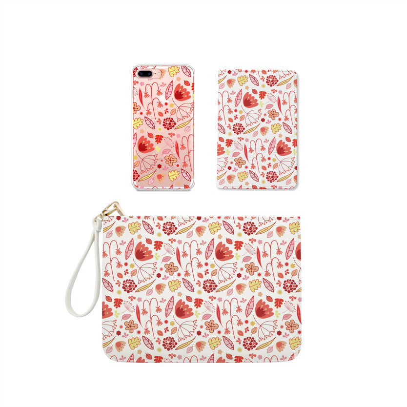 Pinky Flowers and Leaves Combo Personalizable Passport Holder, Clutch and Phone case