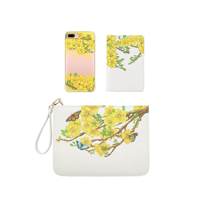 Spring Flower Combo Wallet , Clutch and Phone case