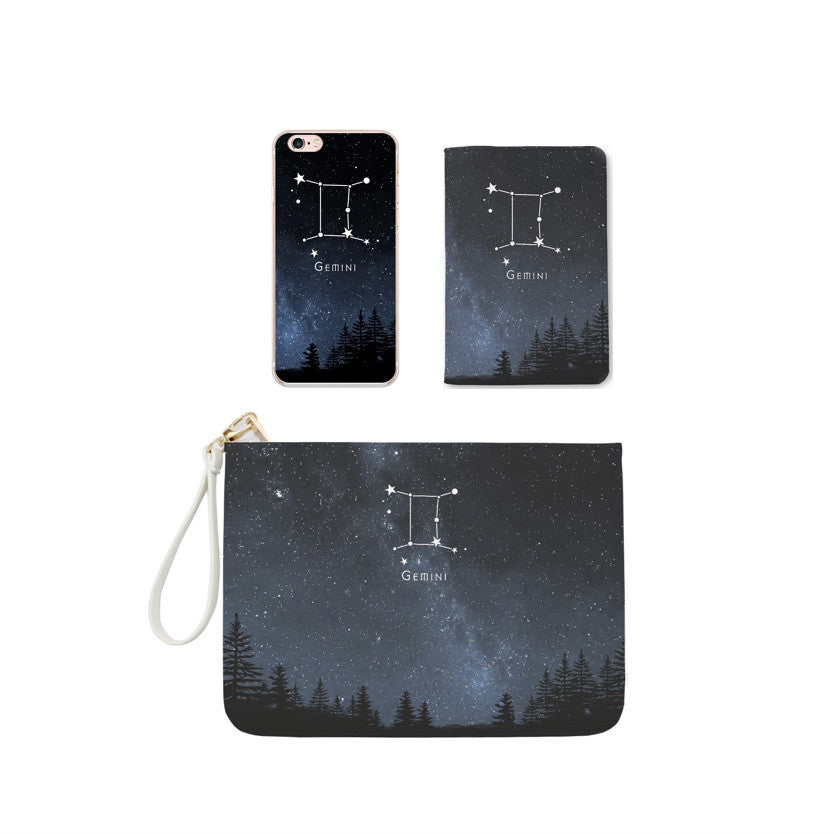 Gemini Zodiac Combo Personalizable Passport Holder, Clutch and Phone case