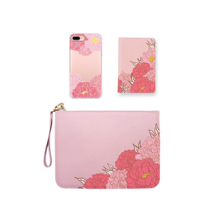 Pink Peony Combo Wallet , Clutch and Phone case