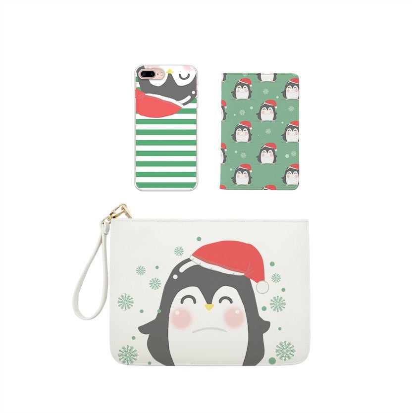 Penguin Christmas Gift Set Wallet , Clutch and Phone case