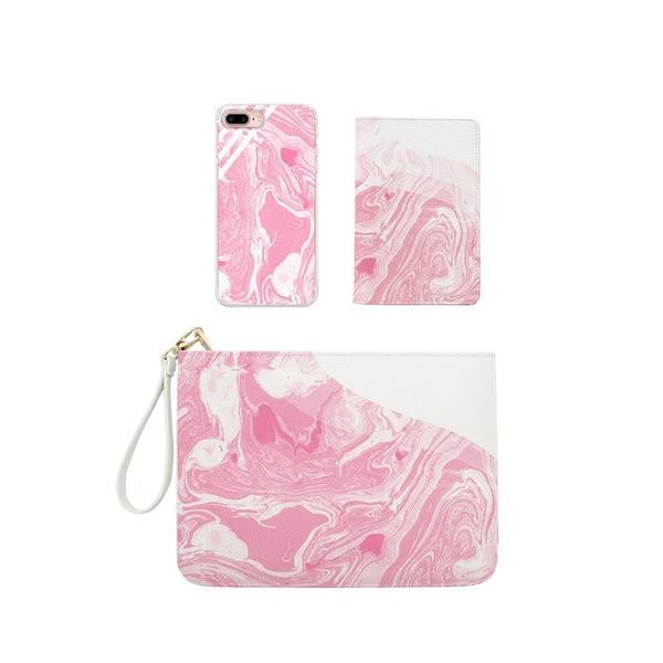 Pink Milky Marble Combo Passport Holder, Clutch and Phone case