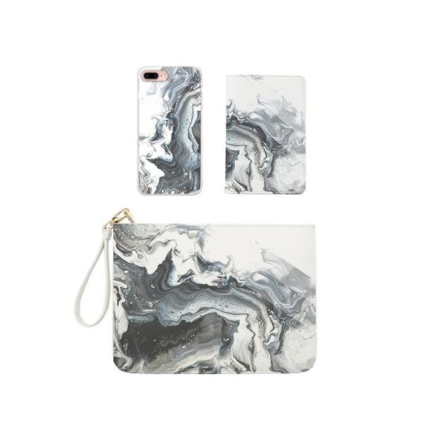 Dark Milky Marble Combo Personalizable Passport Holder, Clutch and Phone case