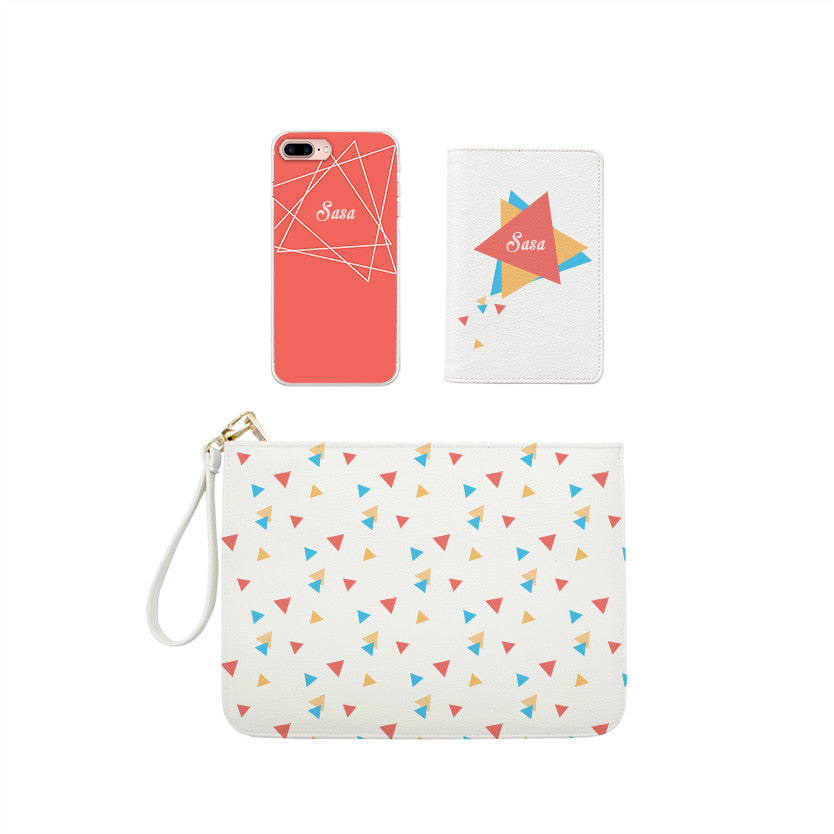 Colorful Triangles Monogram Combo Passport Holder, Clutch and Phone case