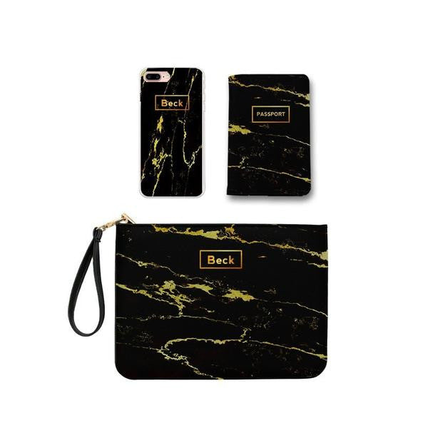 Black Lava Marble Combo Passport Holder, Clutch and Phone case