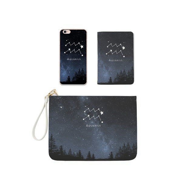 Aquarius Zodiac Combo Passport Holder, Clutch and Phone case