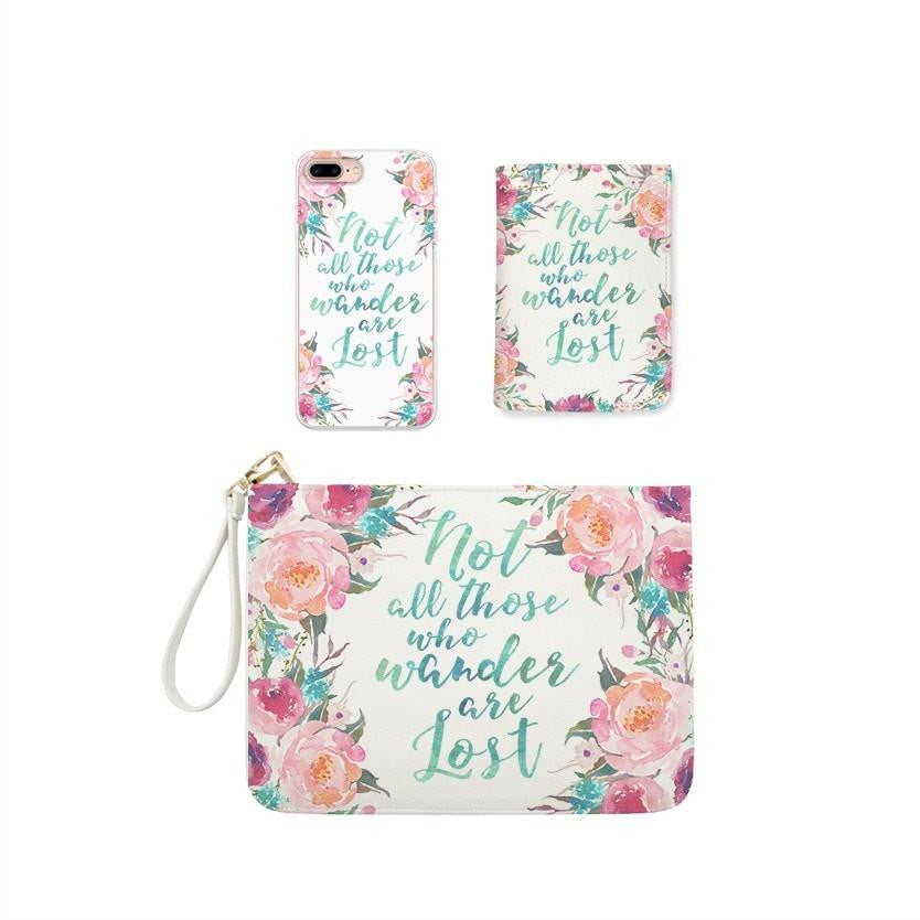 Flowers Quote Combo Wallet , Clutch and Phone case