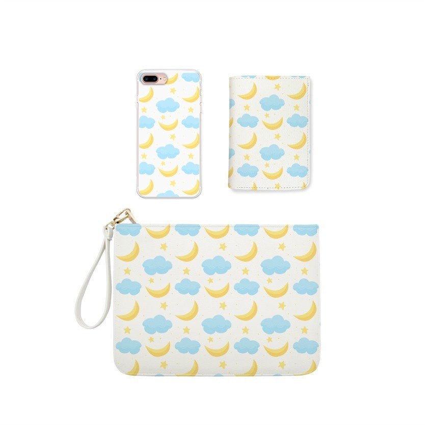 Moon, Stars and Clouds Combo Wallet , Clutch and Phone case