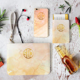Light Orange Marble Combo Personalizable Passport Holder, Clutch and Phone case