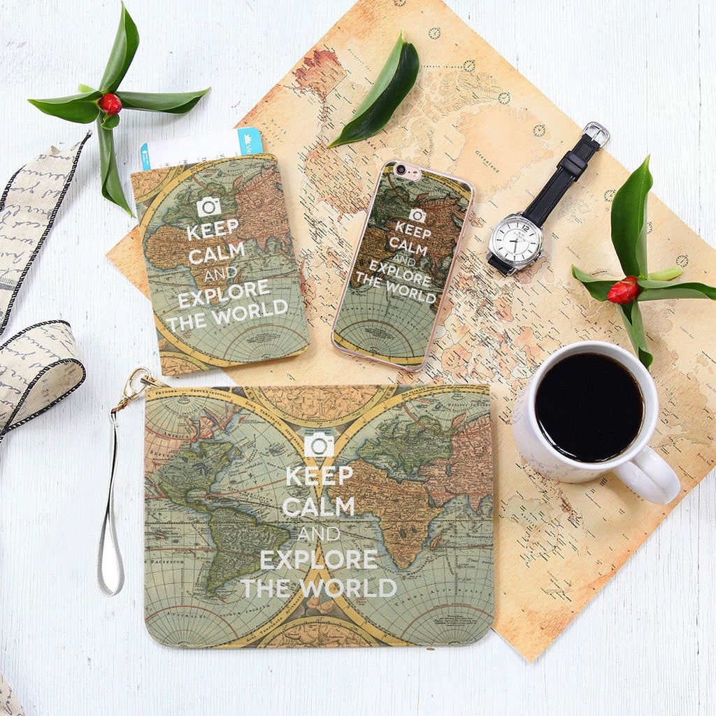 Keep Calm & Explore the World Combo Passport Holder, Clutch and Phone case
