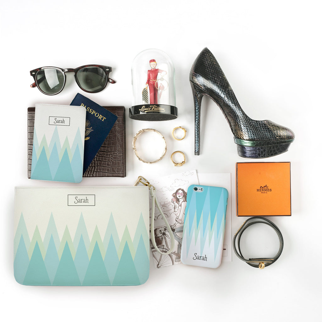 Blue Triangle Monogram Combo Passport Holder, Clutch and Phone case
