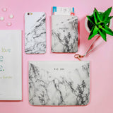 White & Light Grey Marble Combo Passport Holder, Clutch and Phone case