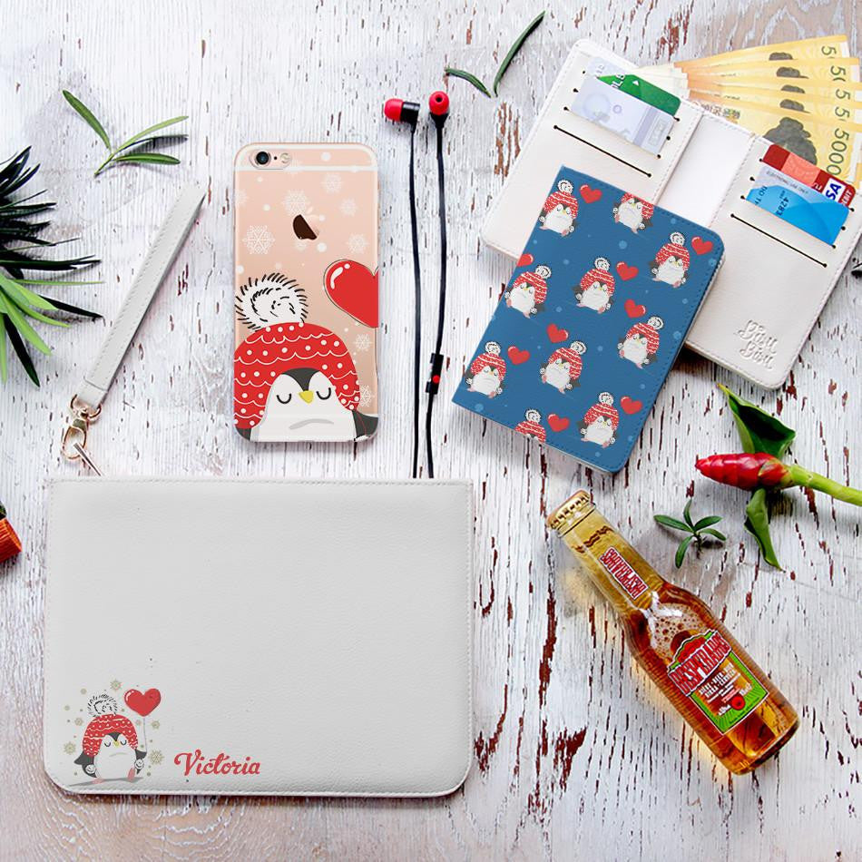 Heart Balloon Penguin Combo Wallet , Clutch and Phone case