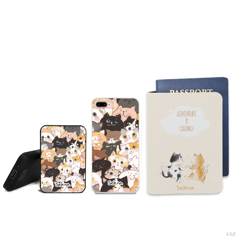 Cat City Combo Passport Holder, Power Bank and Phone case
