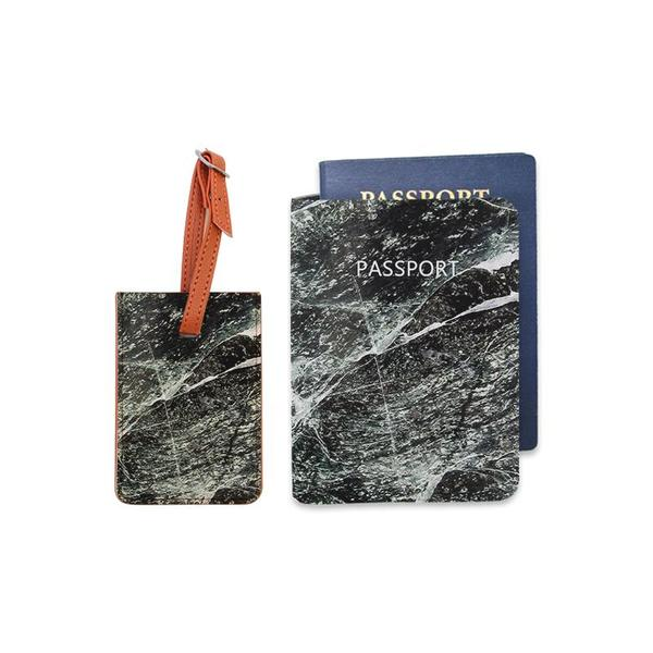 Black Marble Combo Luggage Tag and Personalizable Passport Holder