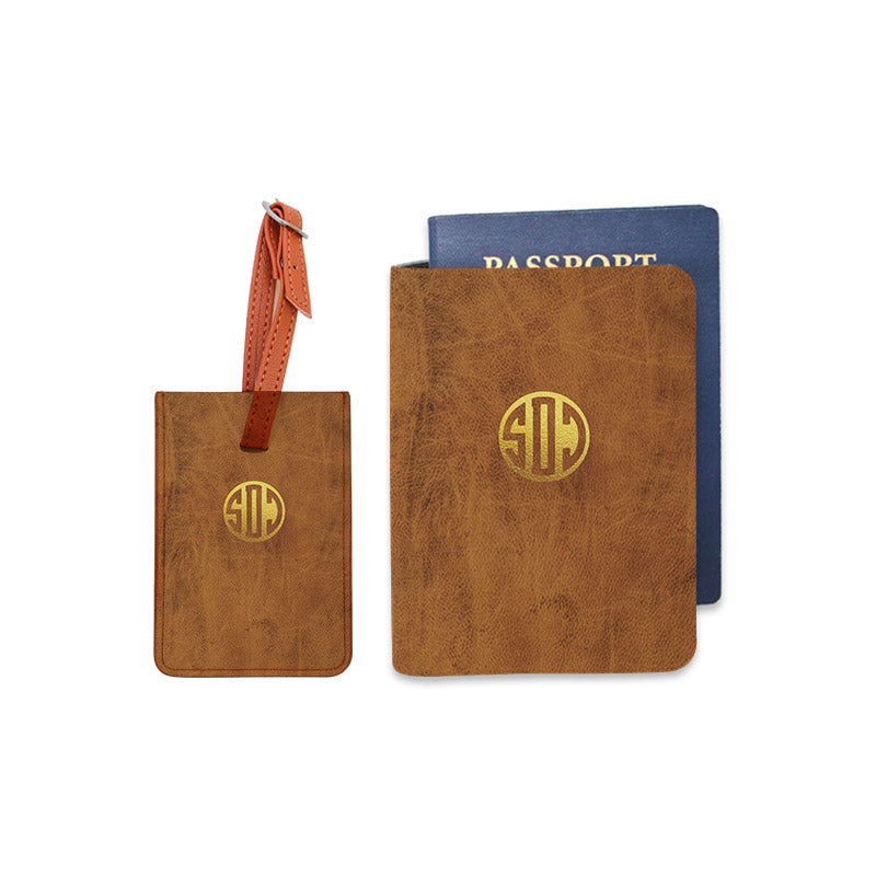 Monogram Combo Luggage Tag and Personalizable Passport Holder