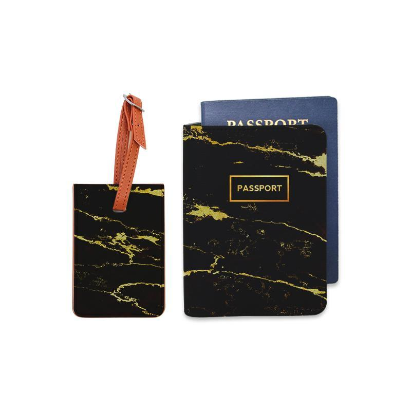 Black Gold Marble Combo Luggage Tag and Personalizable Passport Holder