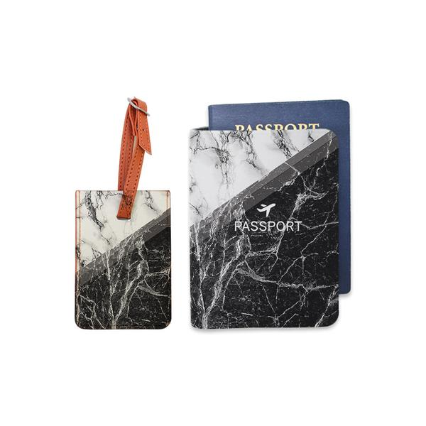 Black & White Marble Combo Luggage Tag and Personalizable Passport Holder