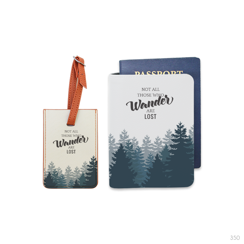 Travel Pattern Combo Luggage Tag and Passport Holder