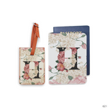 Floral Monogram Combo Luggage Tag and Personalizable Passport Holder